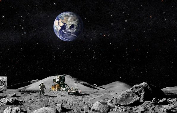 Picture earth, the moon, flag, Americans, The astronauts