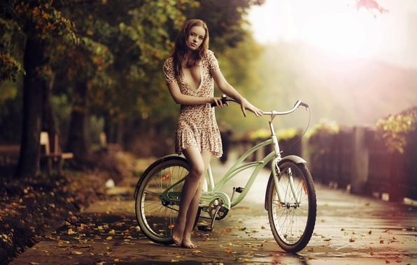 Picture sadness, autumn, girl, bike, barefoot