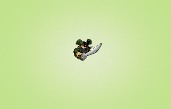 Picture minimalism, sword, pirate, beard, one-eyed, light green background
