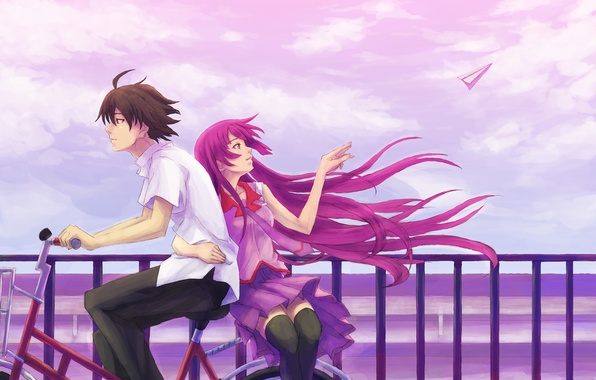 Picture the sky, girl, bike, the wind, profile, male, shirt, long hair, senjougahara hitagi, bakemonogatari, short …