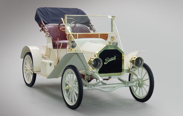 Picture white, retro, convertible, Buick, Touring Runabout, 1908, Model 10