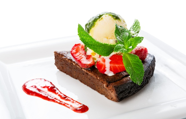 Picture strawberry, ice cream, cake, cake, cake, mint, cream, dessert, sweet, chocolate, sweet, dessert