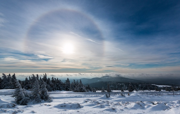 Picture winter, the sky, snow, lights, halo, Halo