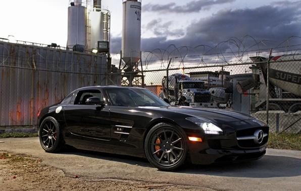 Picture black, shadow, the fence, black, front view, Mercedes benz, sls amg, headlights, Mercedes Benz, SLS …