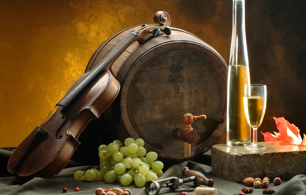 Picture sheet, wine, white, violin, glass, grapes, nuts, barrel, corkscrew, tablecloth