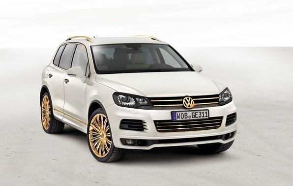 Photo wallpaper White, Volkswagen, Gold, Room, Drives, Touareg