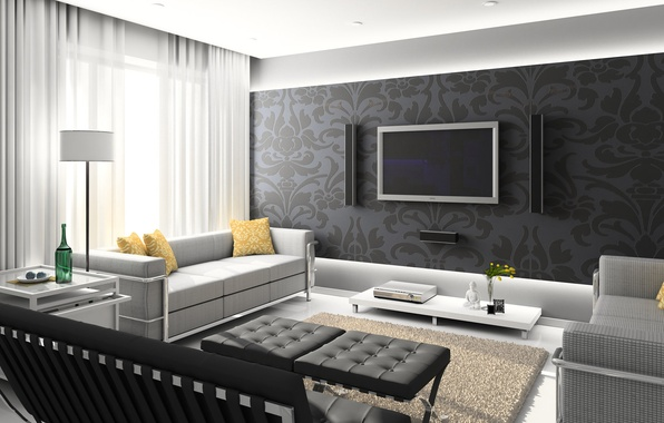 Picture white, table, grey, room, sofa, black, interior, TV, kaloki