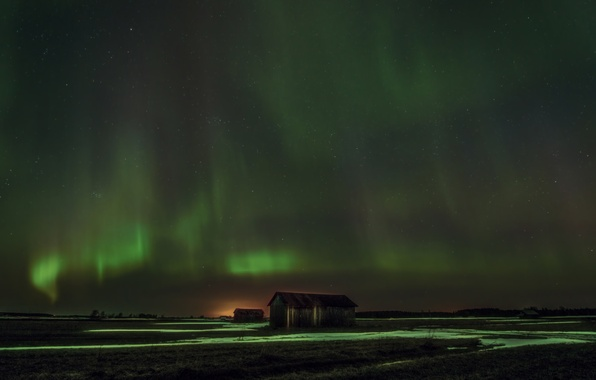 Picture stars, night, Northern lights, house, Finland