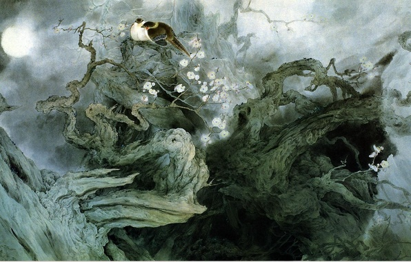 Picture flowers, birds, night, branches, fog, tree, the moon, figure, art, characters, Chinese painting, Zou ChuanAn