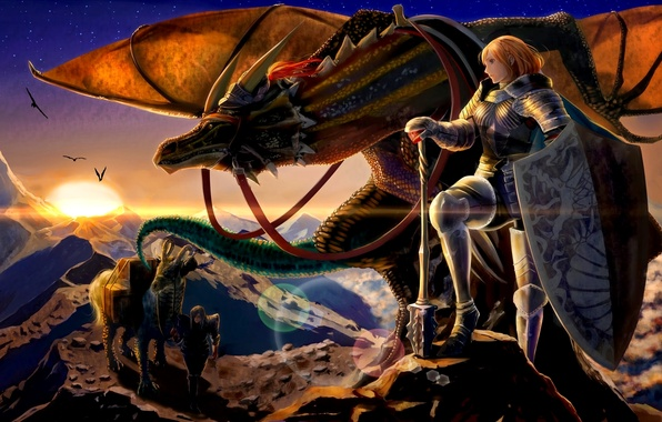 Picture mountains, weapons, dragon, Girls, armor, warriors