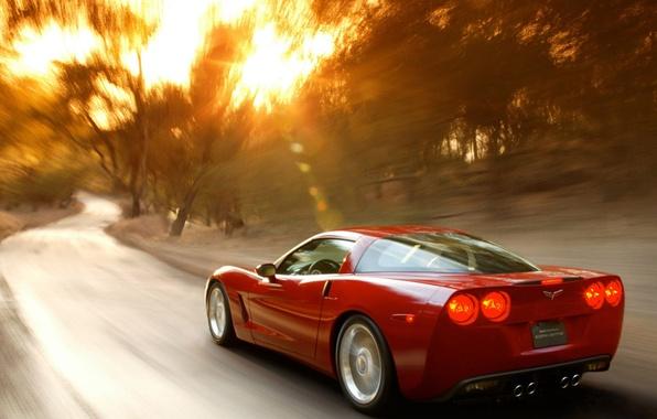 Picture road, the sun, Corvette, Chevrolet
