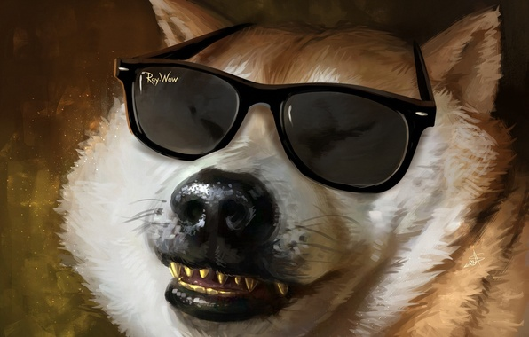 Picture face, dog, teeth, wool, nose, art, glasses, dog