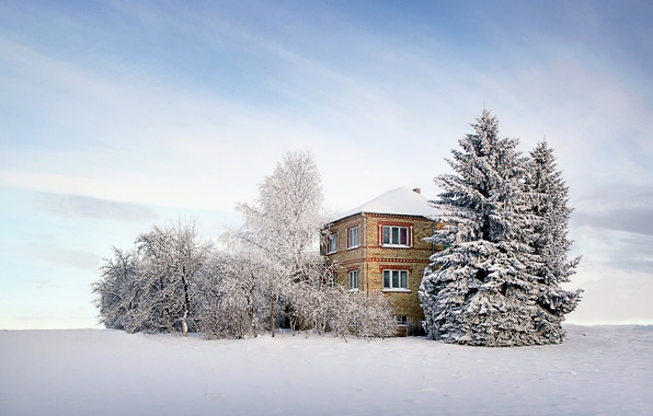 Picture winter, the sky, clouds, snow, trees, house