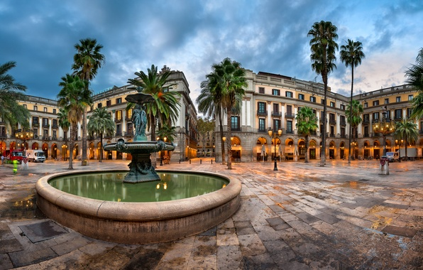 Picture lights, palm trees, the evening, area, lights, fountain, Spain, Palace, Barcelona, Barcelona, Catalonia