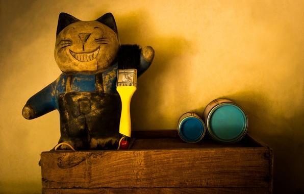 Picture cat, mustache, paint, toy, positive, paws, blur, tail, banks, brush, Tomcat, painter, figure, bokeh, wallpaper., …