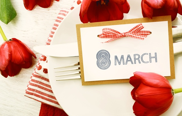 Picture plate, tulips, March 8, Holidays, serving, Tulips, women's day, March 8
