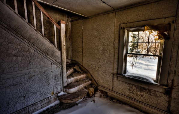 Picture snow, room, window, ladder, the ruins