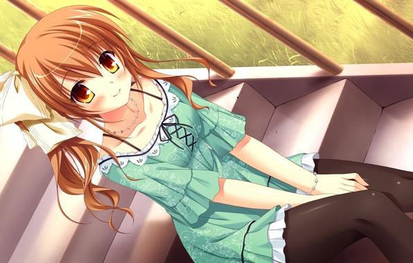 Picture look, girl, smile, ladder, sitting, art, omigawa hitomi, the desired'no yuk