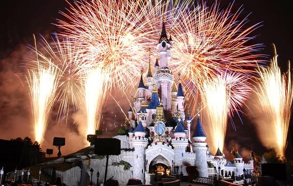 Picture castle, France, Paris, Night, fireworks, Paris, Disneyland, France, castle, Disneyland, Cinderella castle