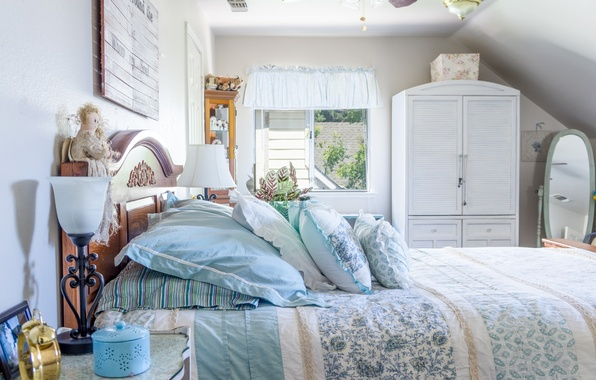 Picture bed, pillow, bedroom, decor