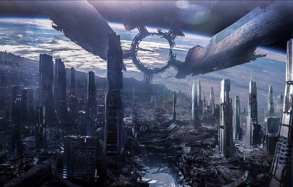 Picture space, art, Mass Effect 3, Citadel, space station, Destroyed Citadel
