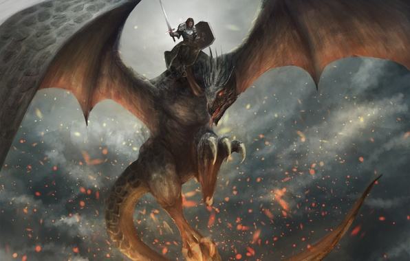 Picture fire, dragon, wings, sword, armor, warrior, rider