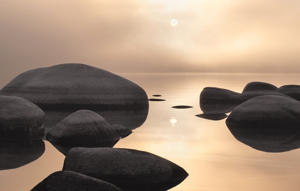 Picture sea, water, landscape, stones, sunset
