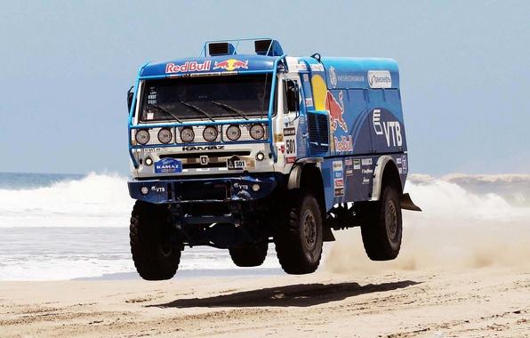 Picture Water, Sea, Beach, Blue, Truck, Red Bull, Kamaz, Rally, KAMAZ, Dakar, 501