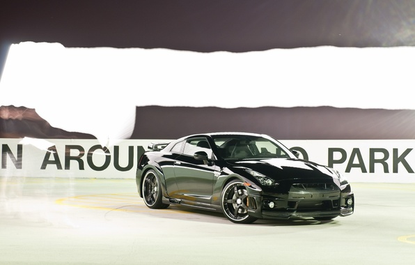 Picture skid, nissan, rink, gt-r