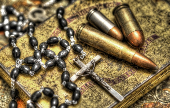 Picture background, cross, cartridges