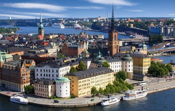 Picture sea, the sky, clouds, bridge, river, ship, tower, home, port, liner, Sweden, spire, Scandinavia, Stockholm, …