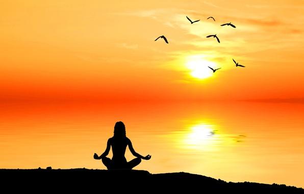 Picture nature, dawn, meditation, people, silhouette, meditation, nature, sunrise, thinking, contemplation, meditation, wallpaper., beautiful background, beautiful …
