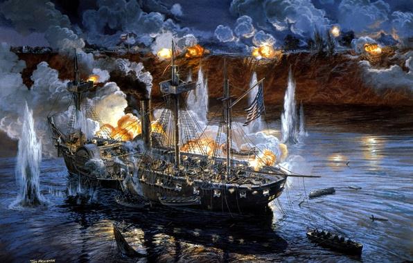 Picture ship, battle, art, artist, Navy, sea, painting, shots, position, guns, coast, Tom Freeman., the enemy, …