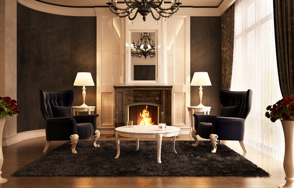 Picture flowers, fire, carpet, mirror, window, chairs, chandelier, fireplace, hall, curtains, table, curtain, vases, lamps