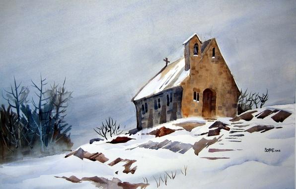 Picture landscape, house, picture, watercolor