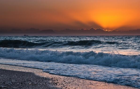 Picture sea, wave, the sky, the sun, landscape, sunset, nature, shore
