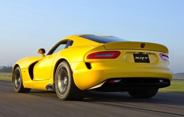 Picture the sky, yellow, Dodge, Dodge, supercar, Viper, rear view, GTS, Viper, SRT