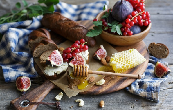 Picture honey, bread, nuts, red, currants, almonds, sandwiches, baton, figs