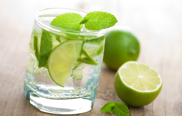 Picture water, glass, lime, mint, Fresh