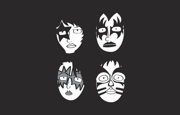 Picture minimalism, group, rock, mask, rock, kiss, glam, kiss, glam