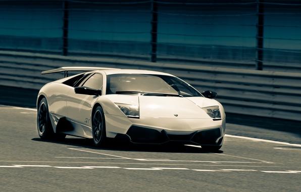 Picture white, track, Lamborghini, white, track, Lamborghini, Murcielago, LP670-4, Lamborghini, murciélago