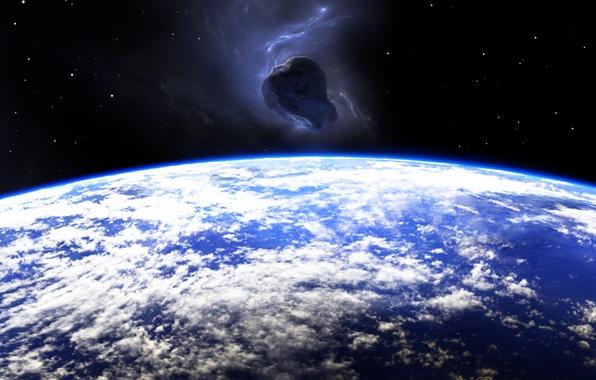 Picture planet, meteorite, destruction, potential impact