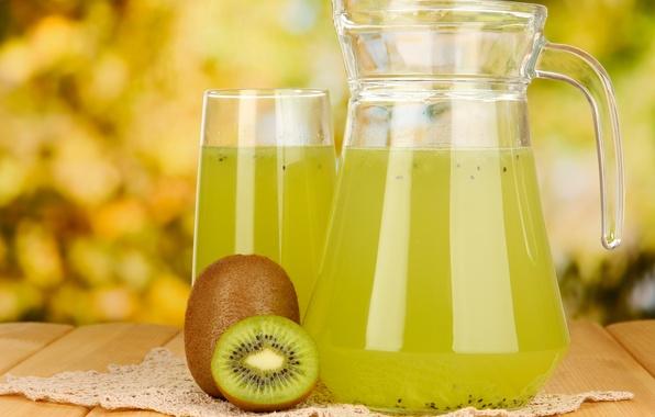 Picture glass, table, kiwi, juice, fruit, napkin, decanter