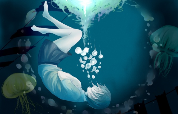Picture girl, bubbles, anime, art, jellyfish, under water, sachi, cmas125