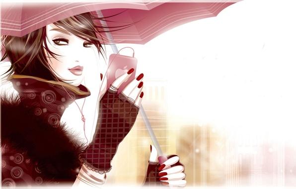 Picture Girl, umbrella, headphones, phone, red nails