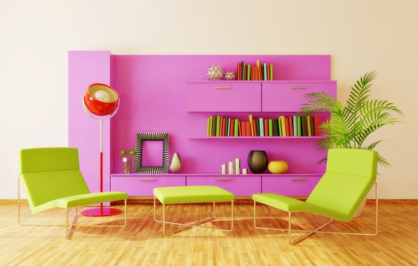 Picture color, design, style, room, bright, books, lamp, chair, table, shelves, locker