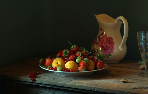 Picture summer, light, berries, table, tree, glass, ray, strawberry, pitcher, peaches, currants, Still life, dimitorrr