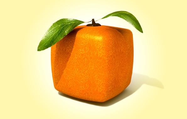 Picture rendering, square, orange, cube, square orange