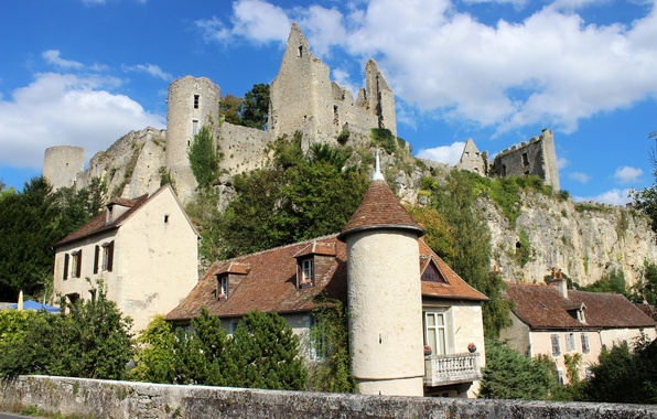 Picture the sky, clouds, rock, France, home, fortress, Angles-sur-l'anglin