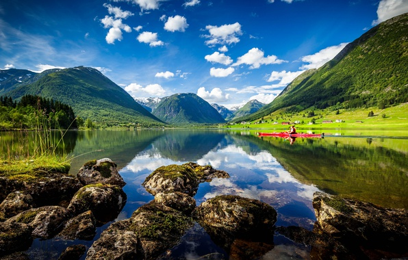 Picture mountains, lake, Norway, Norway, kayak, Sogn and Fjordane, Heimdall